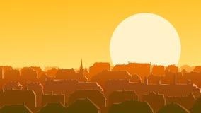 Horizontal illustration of downtown European city at sunset. Royalty Free Stock Photos