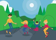 Horizontal illustration with family skipping rope in summer park. Dad, mom and happy kids jumping Royalty Free Stock Images