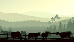 Horizontal illustration of farm pets in background wooded hills. Stock Images