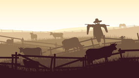 Horizontal illustration of farm pets. Royalty Free Stock Photo