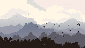 Horizontal illustration of flock of birds and forest with mounta Stock Photos