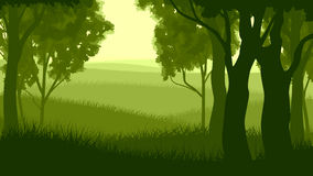 Horizontal illustration within forest. Royalty Free Stock Image