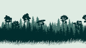 Horizontal illustration of forest with grass. Royalty Free Stock Photo