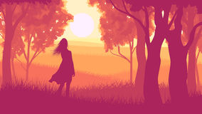 Horizontal illustration within forest with silhouette girl in su Stock Photography