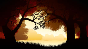 Horizontal illustration within forest. Royalty Free Stock Image
