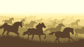 Horizontal illustration herd of horses. Horizontal vector illustration: silhouette herd of horses galloping across the meadows Royalty Free Stock Image