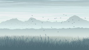 Horizontal illustration of misty landscape with birds in sky. Stock Photo
