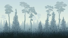 Horizontal Illustration Of Forest With Grass. Royalty Free Stock Image