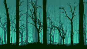 Horizontal illustration of pinewood forest. Royalty Free Stock Photography
