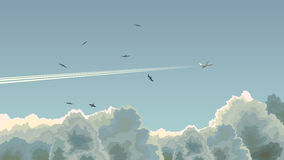 Horizontal illustration of plane among clouds. Royalty Free Stock Image