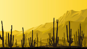 Horizontal illustration of prairie with cacti at sunset. Royalty Free Stock Image