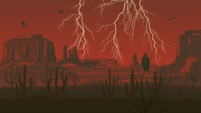 Horizontal illustration of prairie wild west with thunderstorm l Royalty Free Stock Photo