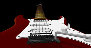 Horizontal illustration with red electric guitar. Royalty Free Stock Photos