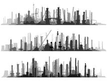 Horizontal illustration set industrial part of city. Stock Photo