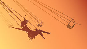 Horizontal illustration silhouette girl on swing at sunset. Stock Photography
