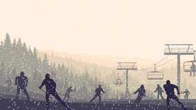 Horizontal illustration of skiers in morning hills coniferous fo Stock Image