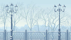 Horizontal illustration of snowy park in blue tone. Royalty Free Stock Photo
