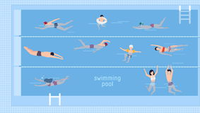 Horizontal illustration with swimmers in swimming pool. Top view. Various people and kids in water, swim in different Royalty Free Stock Images