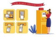 ATM payments usage instruction stock illustration
