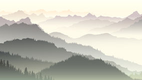 Horizontal illustration of twilight in forest hills. Horizontal illustration morning misty coniferous forest hills in fog Stock Photo
