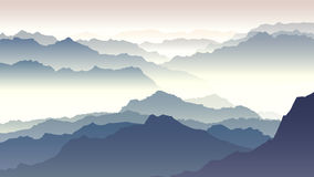 Horizontal illustration of twilight in mountains. Royalty Free Stock Photo