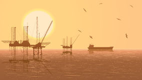 Horizontal illustration of units for oil industry. Royalty Free Stock Photography