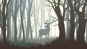 Horizontal illustration of wild elk in wood. Stock Photography