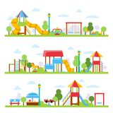 Horizontal illustrations with various views of children playground in urban park stock illustration