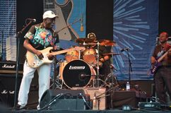 Musician Buddy Guy in Concert, Portland, Oregon 2. Horizontal image of blues musician Buddy Guy with his band at Portland, Oregon`s Waterfront Blues Festival Stock Photo