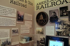 Horizontal image of exhibit that covers history of the Railroads, Baltimore Museum of Industry, Maryland, 2017. Extensive exhibit that covers the history of the Royalty Free Stock Image