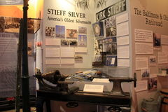 Horizontal image of exhibit that covers history of silversmiths, Baltimore Museum of Industry, Maryland, 2017. Extensive exhibit that covers the history of Royalty Free Stock Photos