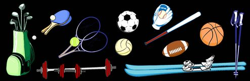Horizontal image items of sports equipment from different sports Royalty Free Stock Images