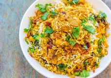 Mutton Biryani Served on a Plate Royalty Free Stock Photography