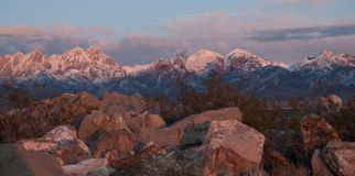 Horizontal Organ Mountains in golden hour East of Las Cruces, NM royalty free stock photo
