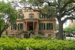 Savannah, Georgia / United States - June 25, 2018: Owens-Thomas house is located in historic Oglethorpe Square in downtown Savanna. Horizontal image of the Owens stock photography