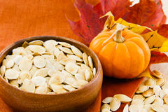 Horizontal image of pumpkin seeds with copy-space Stock Image