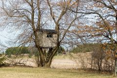 Horizontal image of a treehouse. In early spring Royalty Free Stock Images