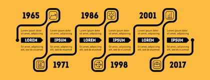 Horizontal Infographic timeline. Business concept with options,. Parts, steps or technology processes. Vector web template for presentation. Time line of Social Stock Photo