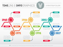 Horizontal Infographic timelines. Vector web template for presen Royalty Free Stock Photos