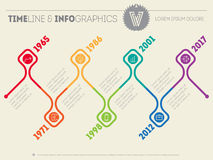 Horizontal Infographic timelines. Vector web template for presen Royalty Free Stock Photo