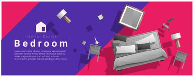 Horizontal interior banner sale with bedroom furniture hovering on colorful background. Vector , illustration Stock Photo