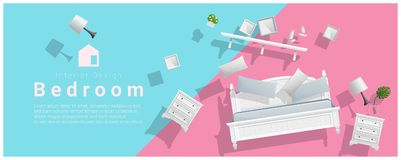 Horizontal interior banner sale with bedroom furniture hovering on colorful background. Vector , illustration stock illustration