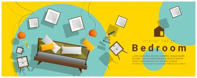Horizontal interior banner sale with bedroom furniture hovering on colorful background. Vector , illustration Stock Photography