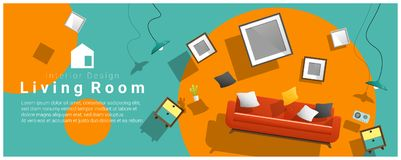 Horizontal interior banner sale with living room furniture hovering on colorful background. Vector , illustration vector illustration