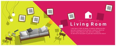 Horizontal interior banner sale with living room furniture hovering on colorful background. Vector , illustration stock illustration