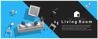 Horizontal interior banner sale with living room furniture hovering on colorful background. Vector , illustration Stock Photo