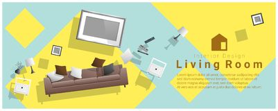 Horizontal interior banner sale with living room furniture hovering on colorful background. Vector , illustration Royalty Free Stock Photo