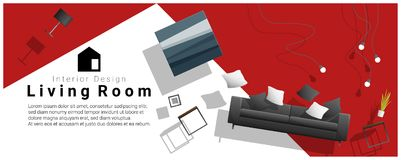 Horizontal interior banner sale with living room furniture hovering on colorful background. Vector , illustration Royalty Free Stock Photos