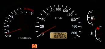 Horizontal isolated car speedometer no fuel panel Royalty Free Stock Images