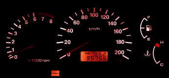 Horizontal isolated red car speedometer no fuel panel Royalty Free Stock Images